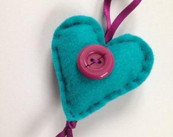 Teal and Purple Felt Heart Decoration