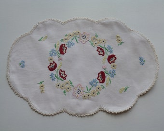 Vanity Mat, Dressing Table Mat, Embroidered and Lace Edged Linen