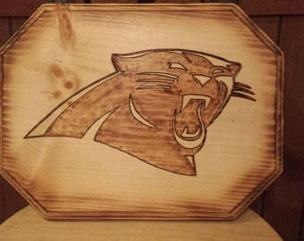 Carolina Panthers Wood Burned Plaque - Gift For Him - Christmas Gift