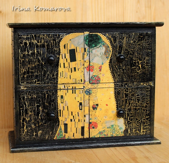 Il bacio di klimt mini cassettiera scatole di legno scatola for Regalo cassettiera