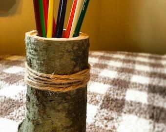 Wooden Pencil Holder. Rustic Home Decor. Office Decor. Log Pencil Holder.
