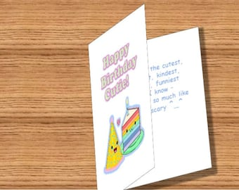 Birthday card, Kawaii cake & hat, printable instant download