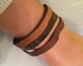 Leather Bracelet with magnetic closure 19 cm