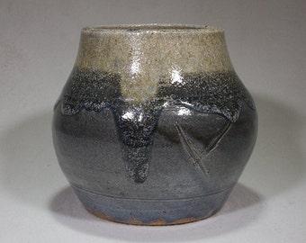 Gray and Khaki Stoneware Jar