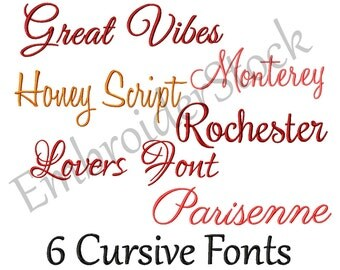 6 Cursive Fonts Pack Machine Embroidery Font Design Cursive Script Embroidery Fonts Fonts For Embroidery