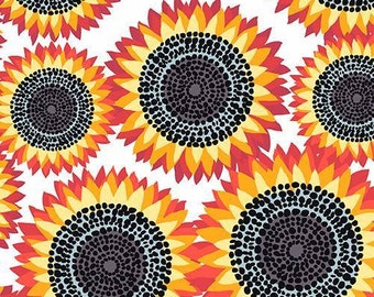 Andover - Sunflowers - Jane Dixon - A-7750-O - Large Sunflowers - Red - Orange - Yellow