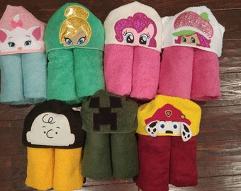 Character Hooded Towel/over 350 Character Hooded Towel/ Embroidered Character Hooded Towel, Embroidered Towel