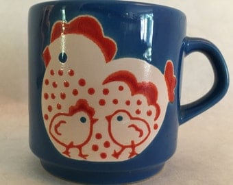 Adorable Vintage Mug Hen and Chicks Made in Spain