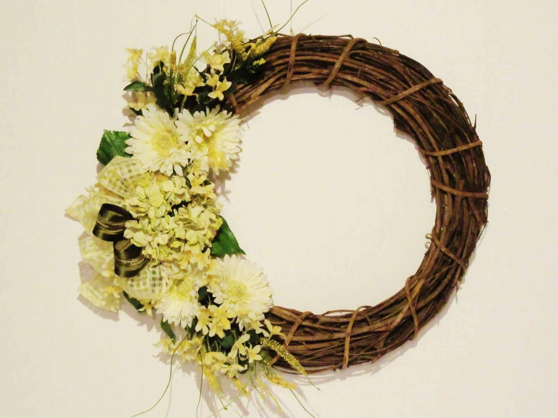 Handmade 18 Wood / Grapevine Yellow Spring Door Wreath Daisies ...