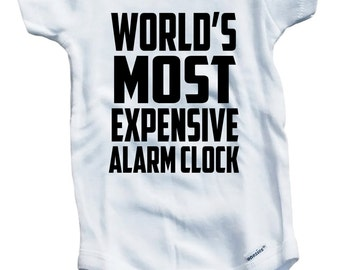 World's Most Expensive Alarm Clock on The Laughing Giraffe 7.5 oz Baby Onesie