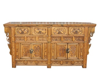 Antique Asian Carved Cabinet, Chinese Sideboard.