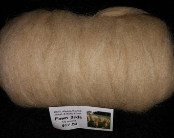 Alpaca Roving - Fawn Thirds