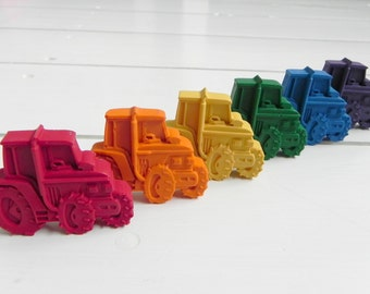 Tractor Crayons x 6 | Birthday Gift | Party Favours | Novelty Crayons | Vehicle | Tractor Gift | Farm Party | Toddler Crayons | Farm Toys