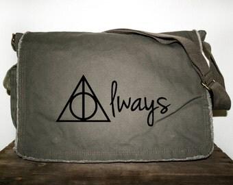 Harry Potter ALWAYS Khaki Green Messenger Bag