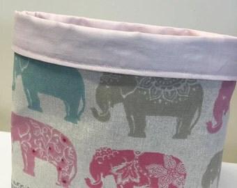 Elephant Fabric Storage Basket Shabby Chic Elephant Design Pink and Blue