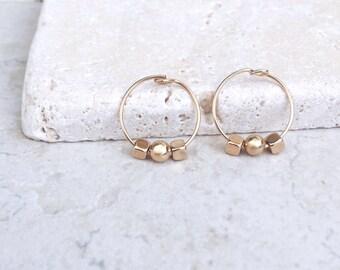 Gold hoop earrings, gold beads, 14k gold filled earrings, delicate earrings
