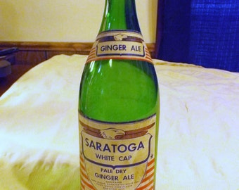 Vintage Saratoga White Cap Paper Label Pale Dry Ginger Ale Green Quart Soda Bottle