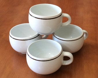 Vintage Denby England Pot Belly Brown Stripe Stoneware Mugs - Set of 4
