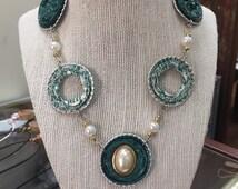 Beaded Nespresso Statement Necklace, Upcycled Nespresso Jewelry, Recycled Repurposed Fashion Jewelry