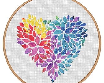 MORE for FREE - Love Heart Colors - Counted Cross stitch pattern PDF-Instant Download-Cross Stitch Pattern-Valentine-Love-Needlepoint #1904