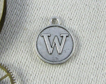 "Silver Medallion Letter ""W"" Charm, 1 or 5 letters per package ALF012w"