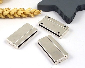 3 magnetic clasps flat leather silver plated flat inside 30mm