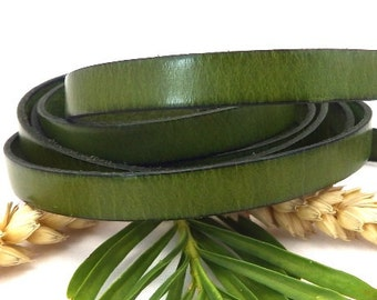 Green flat leather high quality 0,4 inches x 1 meter
