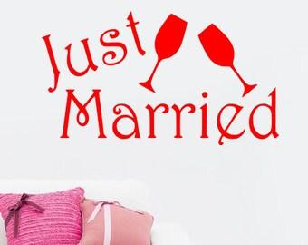 Juste mariée autocollant, autocollant de voiture, signe, vinyle Decor de mariage, mariage journée Decal mur autocollant de frigo art T25