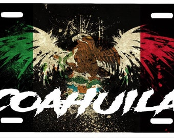 "Coahuila Mexico Aluminum License Plate Placa  6"" x 12"""