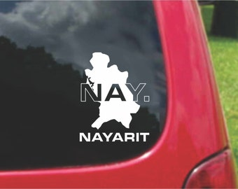 2 Pieces Nayarit Mexico Outline Map  Stickers Decals 20 Colors To Choose From.  U.S.A Free Shipping