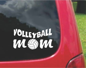 Set (2 Pieces)  VolleyBall Mom Sticker Decals with custom text 20 Colors To Choose From.  U.S.A Free Shipping