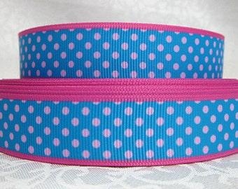 7/8 inch Pink Polka Dots / Pink Border on Pretty Blu -  Printed Grosgrain Ribbon