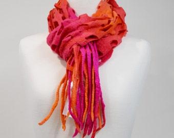 Wool Felt Scarf Shawl Wrap in Pink & Orange. Womens Scarves Hand Dyed Wool Felt Scarf. 11605