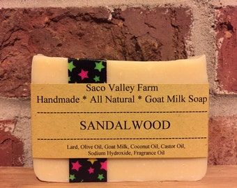 Sandalwood, Goat Milk Soap, Handmade Cold Process Soap