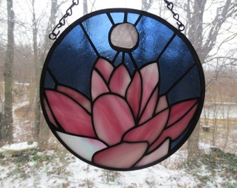 Lotus Chakra Reiki Yoga Stained Glass Suncatcher