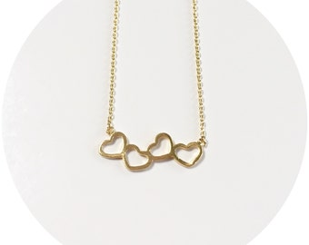 Tiny Hearts Outline Necklace