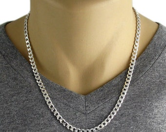 Men's 925 Sterling Silver Cuban Curb Link Chain Necklace 150 Gauge 6 mm