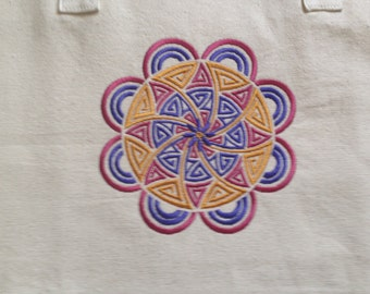 Canvas Tote with Embroidered Mandala Design