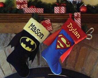 Personalized Batman/Superman Christmas stocking with any name 18 inch DC Comic cat girl or supergirl stocking