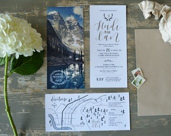 Wedding Invites, Mountain Theme, Hand Lettered Names, Modern Calligraphy Invites, 4.25 x 9 inches
