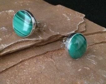 Sterling Silver 12mm Malachite Earrings