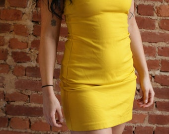 90's Vintage Yellow Party Dress