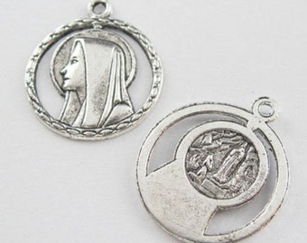 15Pcs Tibetan Silver Tone Virgin Mary Charms Pendants 21x24mm