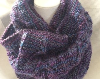 Hand Knit Cowl Infinity Multi colored Purples
