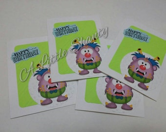 """Little monster series-purple monster A2 card(4.25""""x5.5"""")/White paper base/with green/white embossed accent and a little monster/blank inside"""