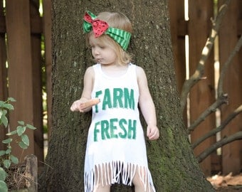 Farm Fresh Hippie Dress- White with green, Asymmetrical Fringe Dress for Babies, Toddlers, and Girls, Farm Girl Birthday Party Outfit