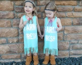 Farm Fresh Hippie Dress- Asymmetrical Fringe Dress for Babies, Toddlers, and Girls