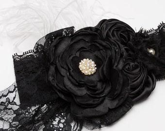 Vintage inspired black lace, pearl and feather headband, baby headband, shabby headband