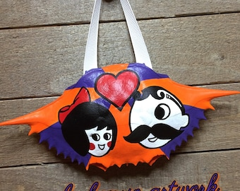 Natty Boh & Utz Girl Hand Painted Crab Shell
