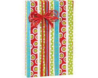 Multicolor Merry Trees Stripe Christmas Script Gift Wrap Paper -15ft
